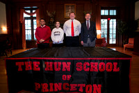 College letter of intent signing day for athletes at the Hun Sch