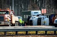 Overturned Tractor Trailer causes delays in Robbinsville