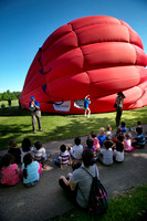 Princeton Nursery School students get inside hot air balloon