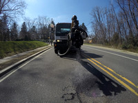 Pothole killing machine in action on Rt. 206 in Lawrence