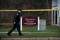 Police investigate shooting scene in  Hamilton Estates apartment