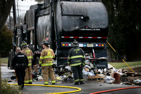 Garbage truck burns near Church of St. Ann in Lawrence