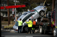 Car tries to climb utility pole in Hamilton