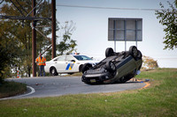 Car flips over on I-295 exit ramp in Hamilton