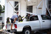 Truck rams into church in West Windsor