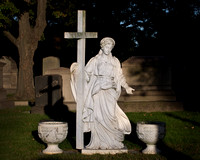 Faces of angels at Riverview Cemetery