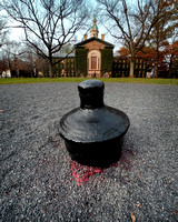 Big Cannon behind Nassau Hall is black again after being painted