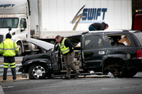 Crash involving tractor trailer, multiple vehicles jams I-95 tra