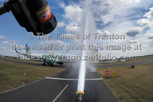 Water canon welcomes flight from Miami to Trenton-Mercer Airport
