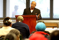 "Trenton Mayoral candidate Oliver ""Bucky"" Leggett talks to seniors at the Josephson apartments"